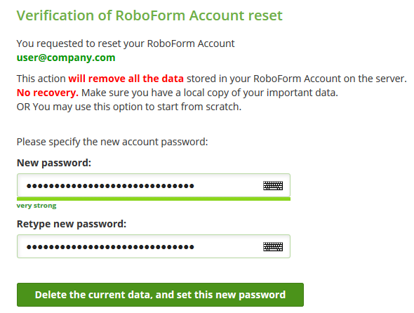 Reset User Master Password – RoboForm
