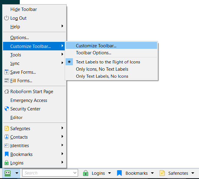 windows tools bar