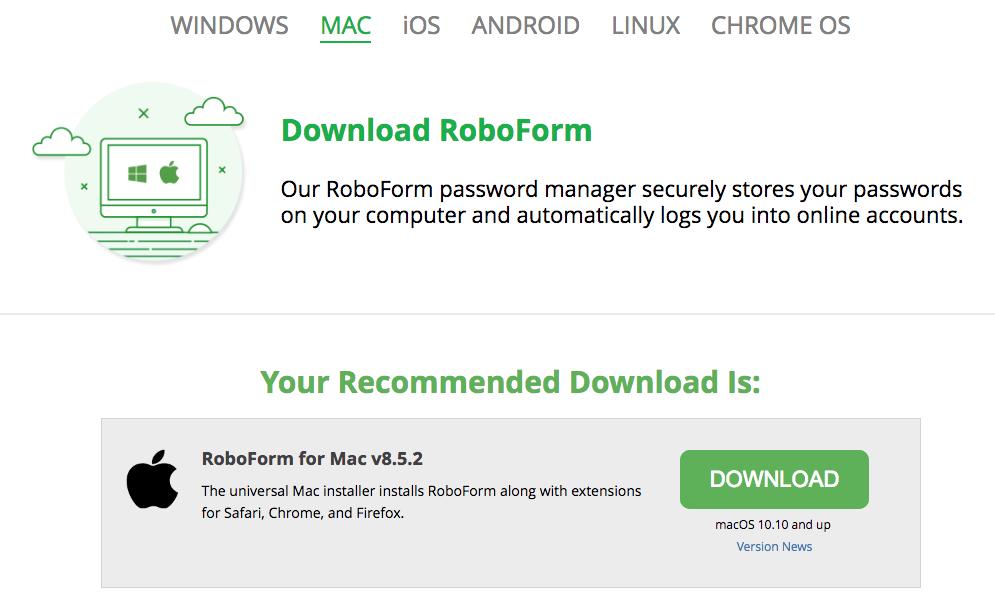 RoboForm 8 (Mac): Installation and setup – RoboForm