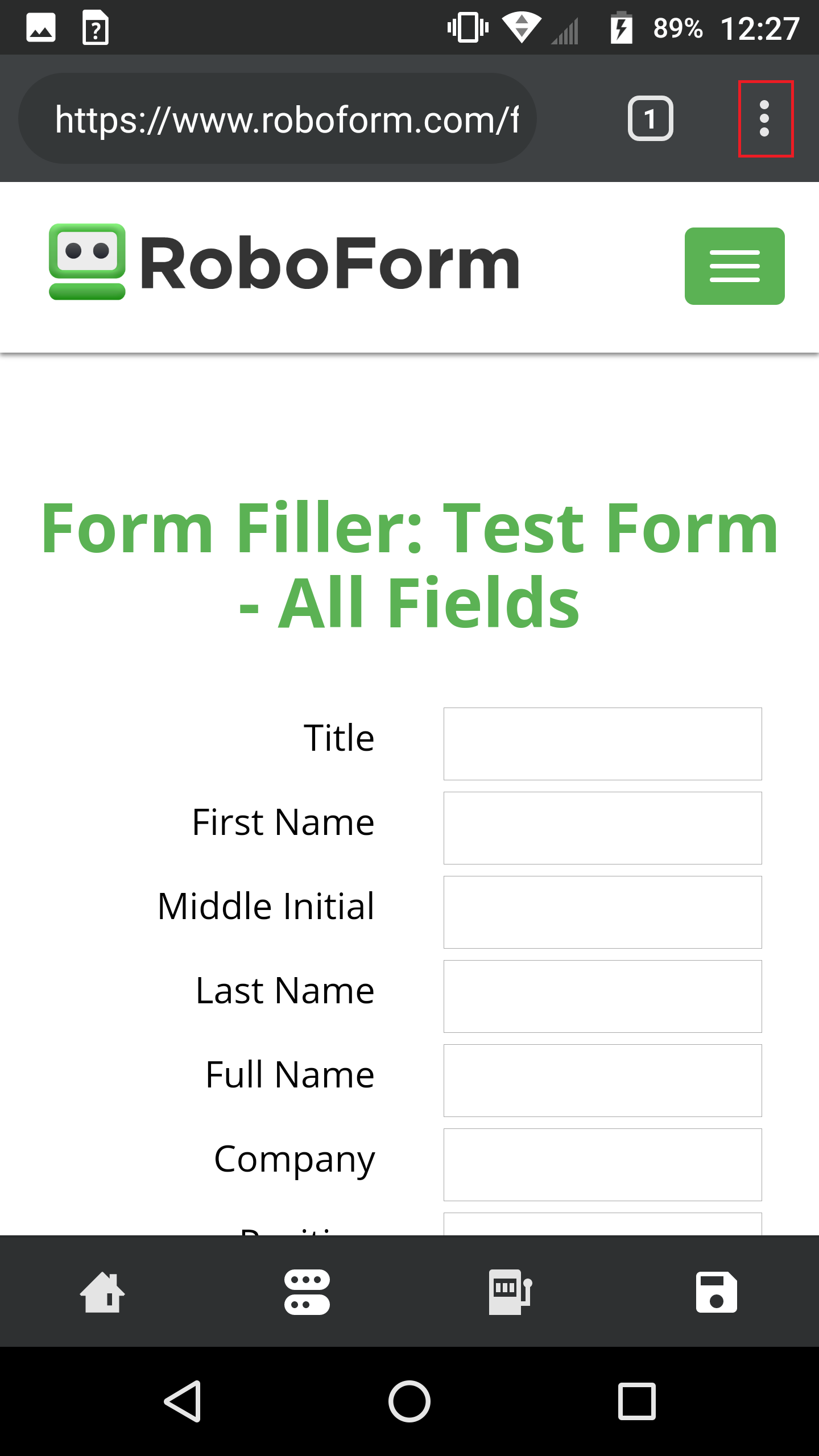 How can I fill forms from my Identities in the Android app